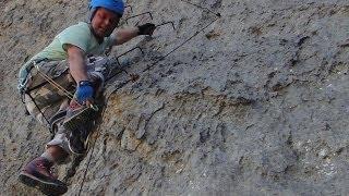 Hiking, climbing, waterfall, camper & camping on Crete Greece in de winter.