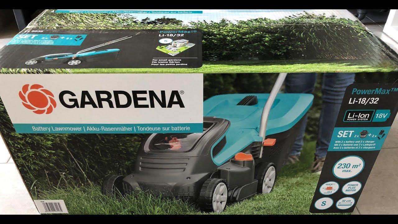 gardena powermax li-18/32 unboxing [hd]