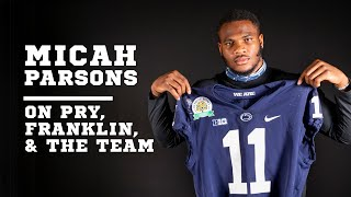 Penn State LB Micah Parsons talks with Franklin, Pry and the football team about opting out