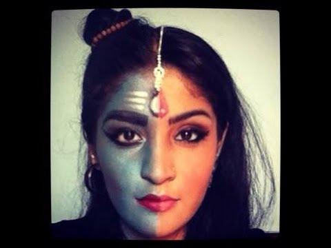 indian mytholgyshiv ardhnarishwar inspired makeup