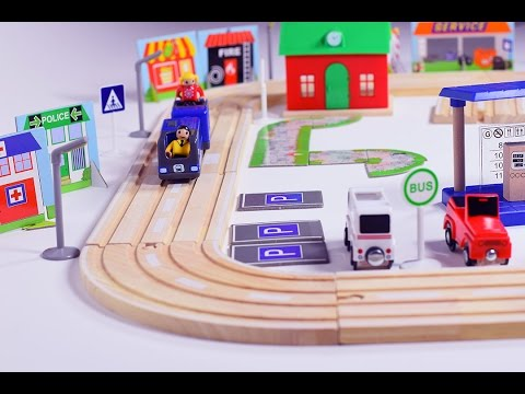 Thumbnail: blue toy train for children kids - train videos - trains - wooden toy train set - play set for kids