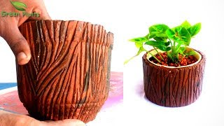 Creative Carving Cement Pot Like a Tree Stump | Tree Pot Ideas | Cement Planter Ideas//GREEN PLANTS