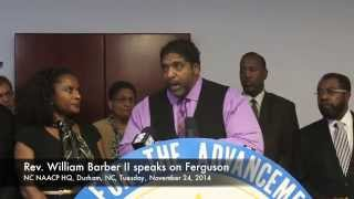 NC NAACP head Rev. William J. Barber, II holds press conference at  state NAACP headquarters Tuesday, November 25, 2014 to discuss the Ferguson, Missouri grand jury decision in the police shooting of unarmed Ferguson teen Michael Brown. Harry Lynch - hlynch@newsobserver.com The News & Observer