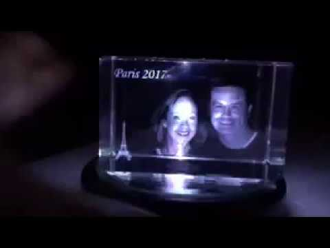 3-D Etched Glass Block
