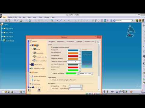 Catia v5 free basic online  training  HOW TO CHANGE BACKGROUND COLOUR OF CATIA V5