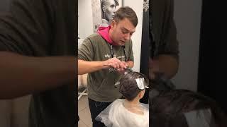 Растяжка цвета на короткие волосы. Павел Охапкин. Прямой эфир от 10.12.2018_часть 1