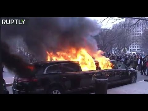 Protesters set limo on fire during Inauguration Day in Washington, DC