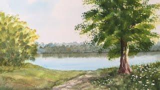 Как рисовать  Воду, Полевые Ромашки, Траву, небо.How to paint water, reflections,grass,flowers.