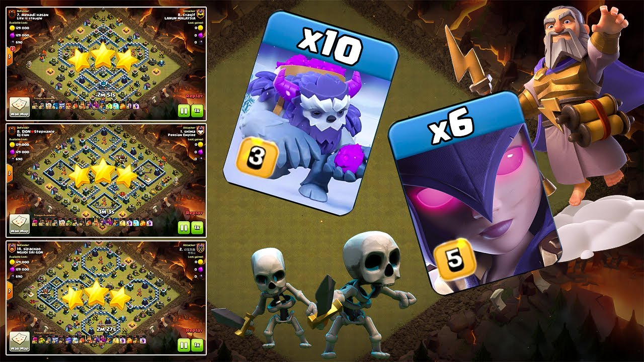 Yeti Witch Th13 Attack Stratgey! What is the right way to 3star War Bases? Clash of Clans