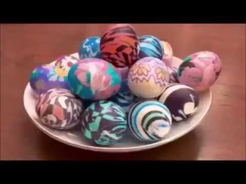 Как красиво и оригинально покрасить яйца на Пасху тканью