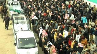 صلاة الجنازة على بعض شهداء  مجزرة حيي كرم الزيتون و العدوية في حي ديربعلبة حمص  12 3 2012