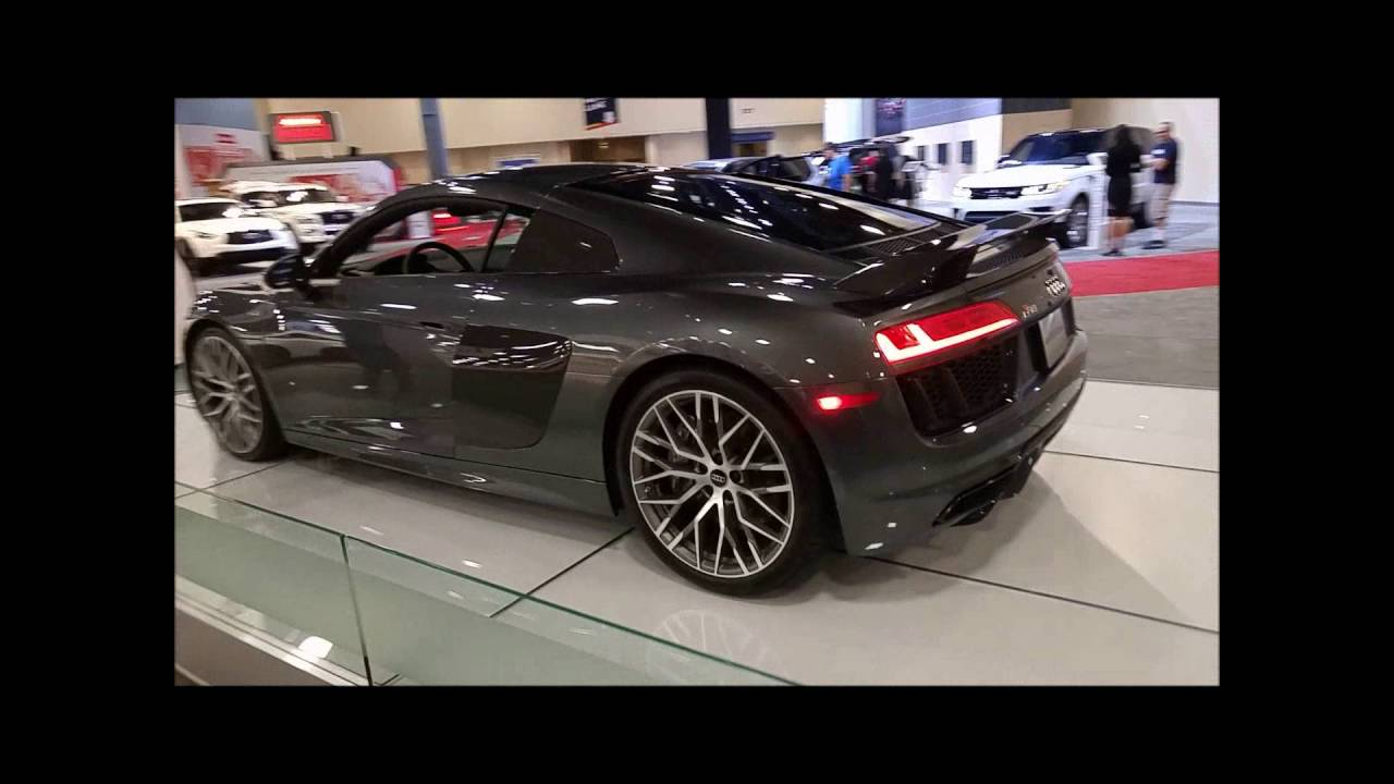 Daytona Gray Pearl Audi R8 V10 Plus @ the 2016 MIAS - YouTube