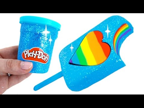 Diy How To Make Play Doh Sparkle Heart Popsicle Ling Clay Learn Colors Rainbowlearning