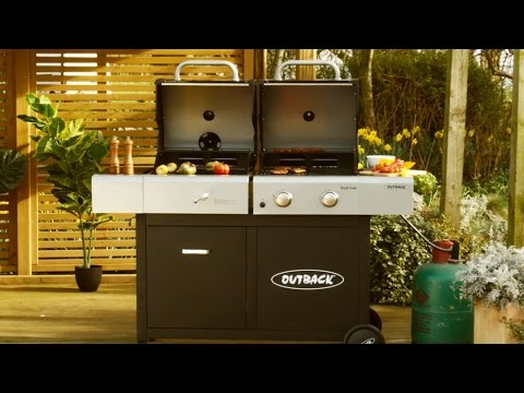 Outback Dual Fuel 2 Burner Gas And Charcoal Trolley Barbecue Youtube
