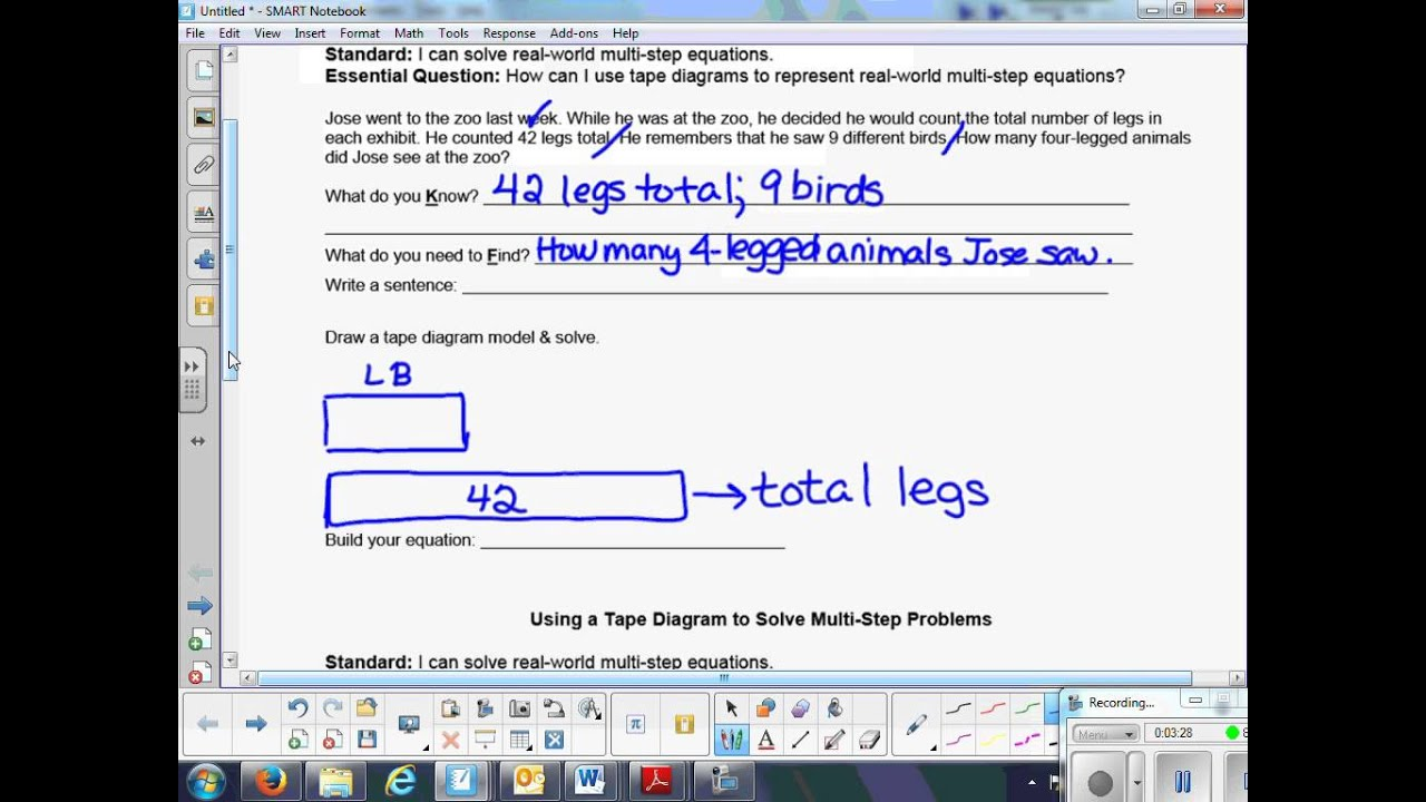 hight resolution of using a tape diagram to solve multi step equations