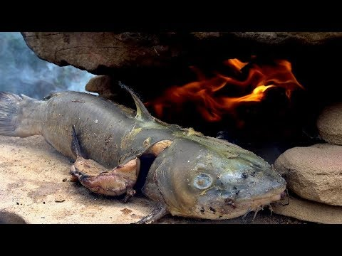 Catch and Cook CATFISH in Primitive ROCK OVEN! Ep17 | Survival Challenge!