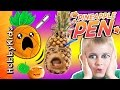 GIANT Pineapple Pen! Video Gaming Phone App + Fruit Pen Throwing Battle Skit HobbyKidsTV