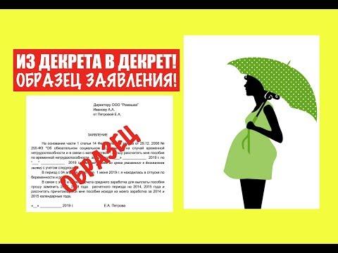 Из декрета в декрет.  Пособие по беременности и родам. Образец заявления.  юрист.  адвокат