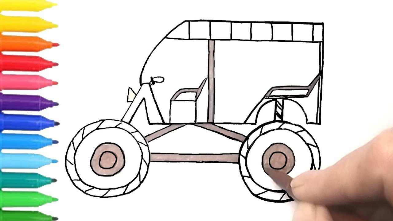 Auto Rickshaw Tuk Tuk Monster Truck | Coloring Pages with ...