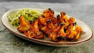 Tandoori Gobi Recipe - No Oven   Cauliflower Tikka Made in Gas Stove - CookingShooking