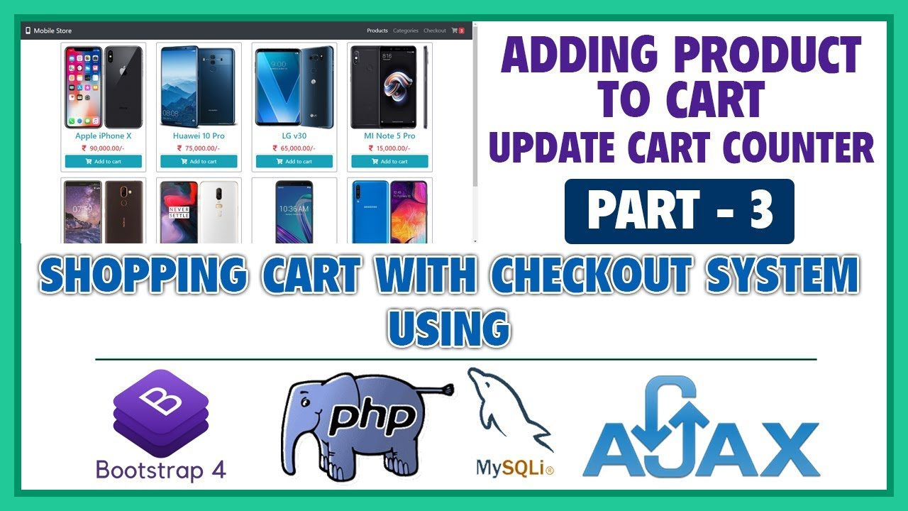 #3 Shopping Cart With Checkout System Using Bootstrap 4, PHP, MySQLi & Ajax | Adding Product to Cart