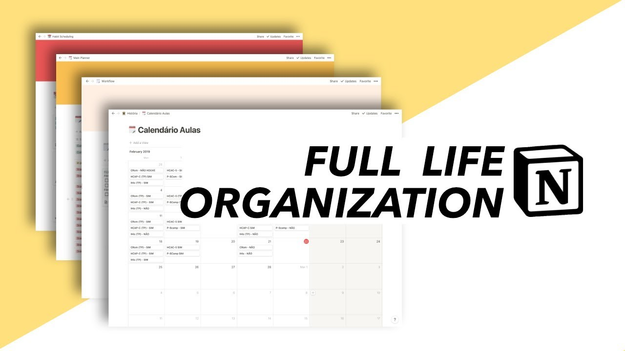 6 My Full Life Organization Get Your Life Together With Notion Youtube In 2021 Life Organization Organization Study Planner
