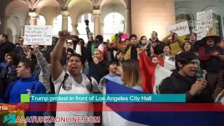 Trump protest in front of Los Angeles City Hall