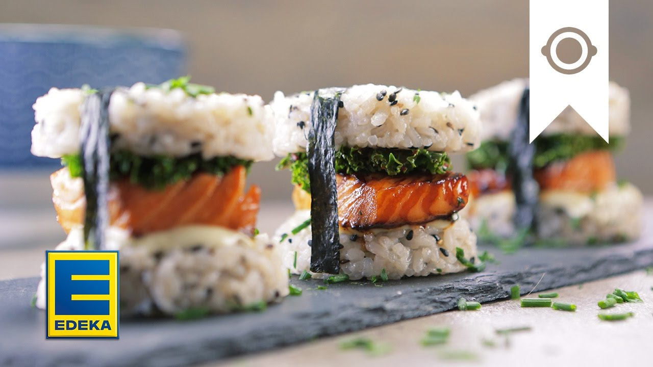 sushi burger mit lachs wasabi mayo edeka youtube. Black Bedroom Furniture Sets. Home Design Ideas