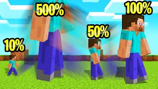 MINECRAFT But Your SIZE Randomly CHANGES!