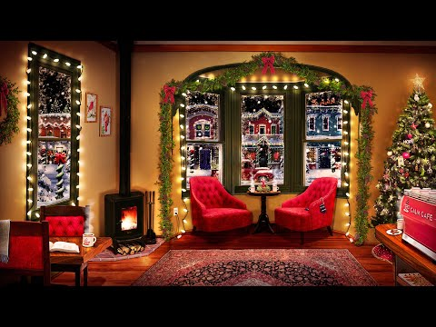 Cozy Christmas Coffee Shop Ambience with Smooth Jazz Christmas Music, Crackling Fire, & Cafe Sounds