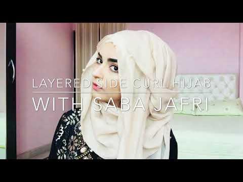 Layered side curl hijab style // by Saba Jafri||