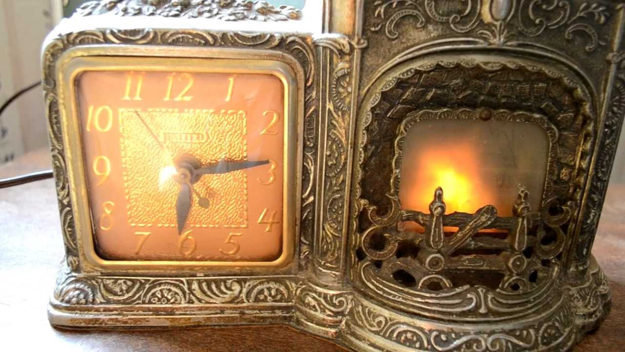 Antique Vintage Novelty Fireplace Clock - YouTube