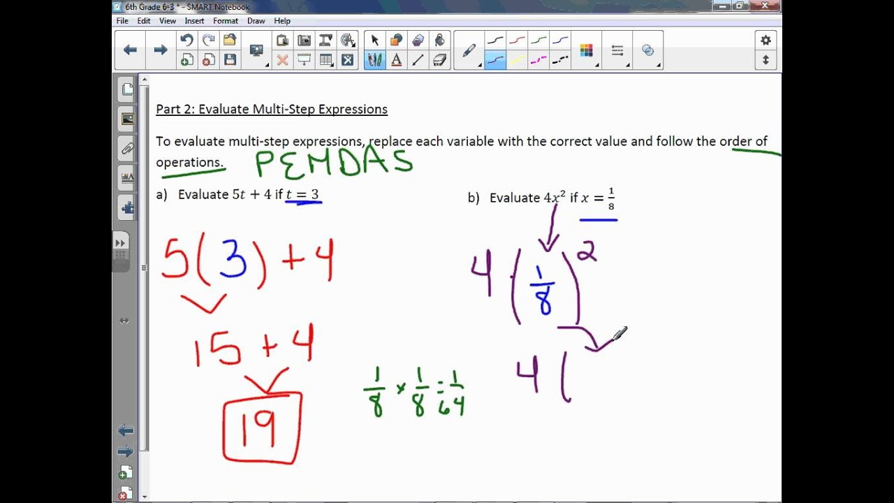 6th grade 6-3  algebra  variables and expressions