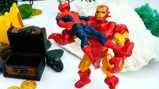 Железный Человек и Спайдермен нашли сокровище! Супергерои Марвел.