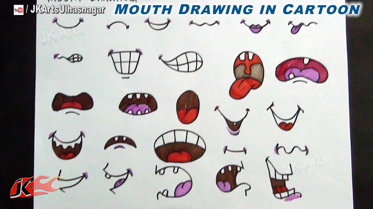 Diy anime cartoon mouth how to draw jk arts 716 youtube