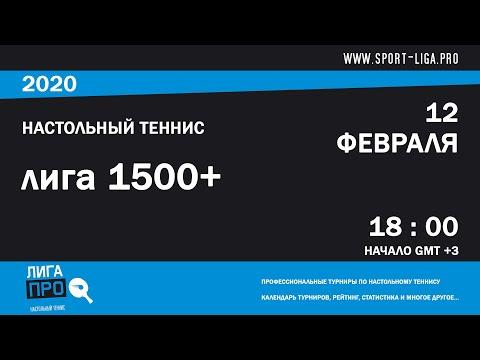 Настольный теннис. Лига Про. Турнир 12 февраля 2020г. Муж. Рейтинг 1500+