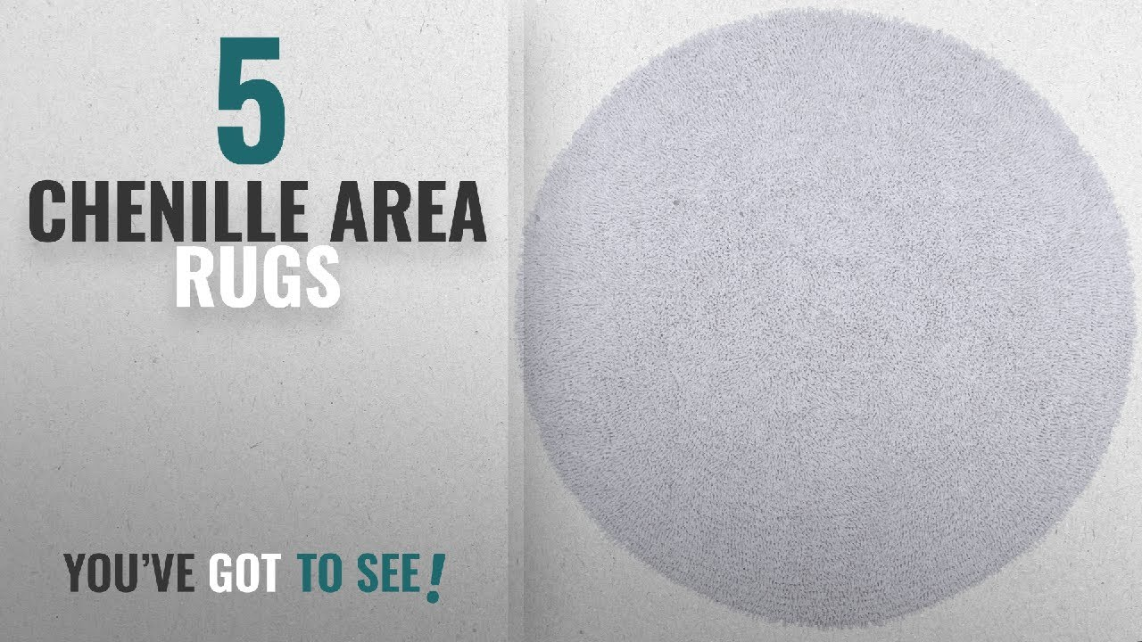 Top 10 Chenille Area Rugs 2018 Adelic Twist Round Rug 5 By Feet White
