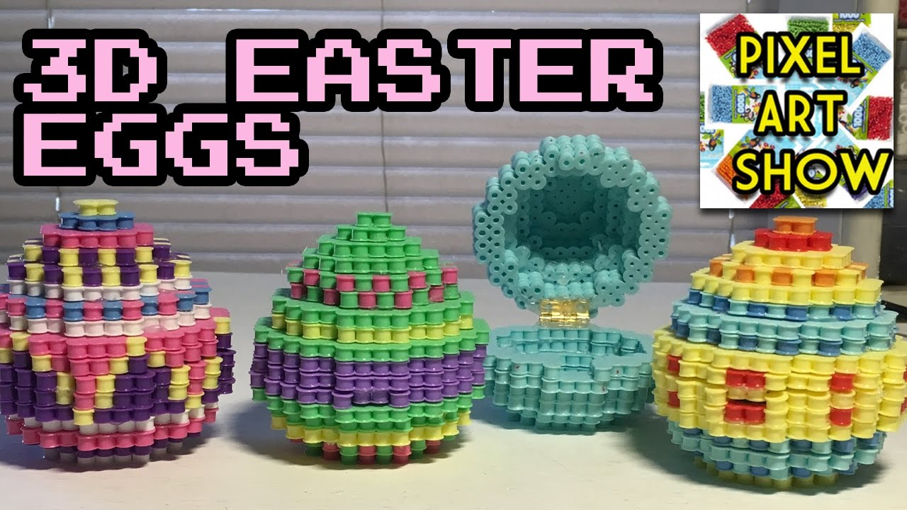 hight resolution of 3d perler bead easter eggs pixel art show