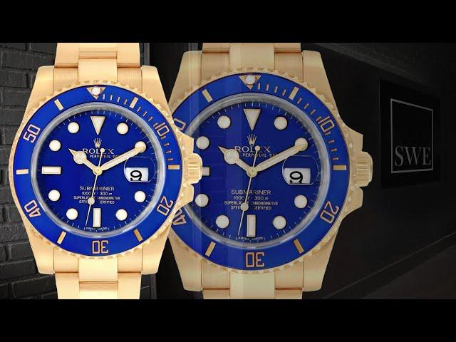 Rolex Submariner Yellow Gold Blue Dial Ceramic Bezel Mens Watch 116618 | SwissWatchExpo [Wrist Roll]