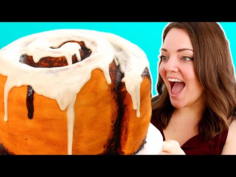 GIANT Cinnamon Roll CAKE! Cinn-Amazingly Delicious 😍