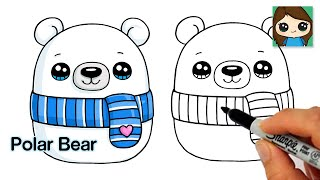 How to Draw a Winter Polar Bear Easy  Squishmallows