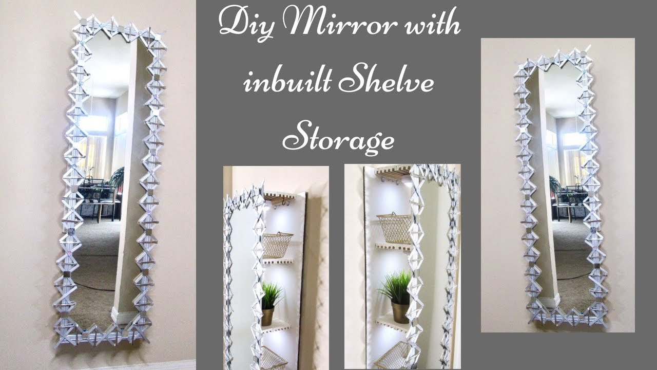 Diy Decorative Wall Mirror With Inbuilt Storage Quick And Easy Home Improvement Ideas