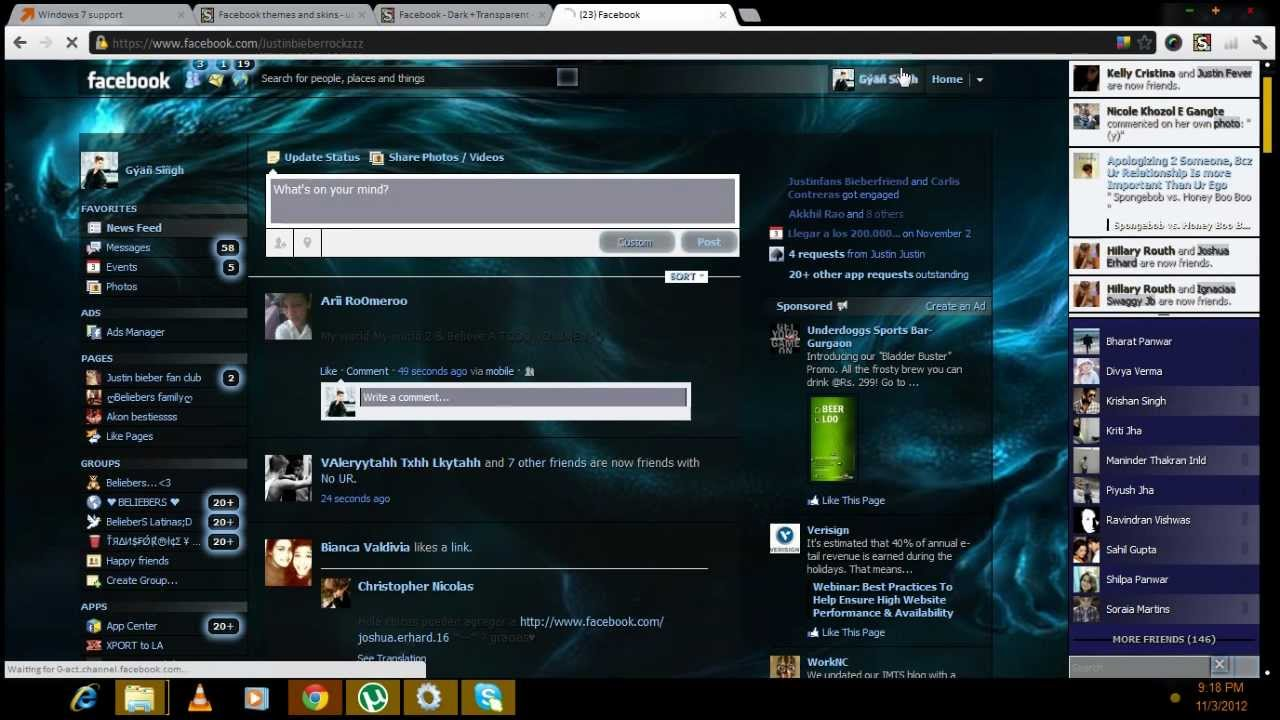 how to change the theme background of facebook timeline in windows
