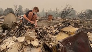 video: Watch: Oregon family return to the rubble of their burned down home