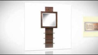 Espresso Ladder Shelf Wall Mount Jewelry Armoire