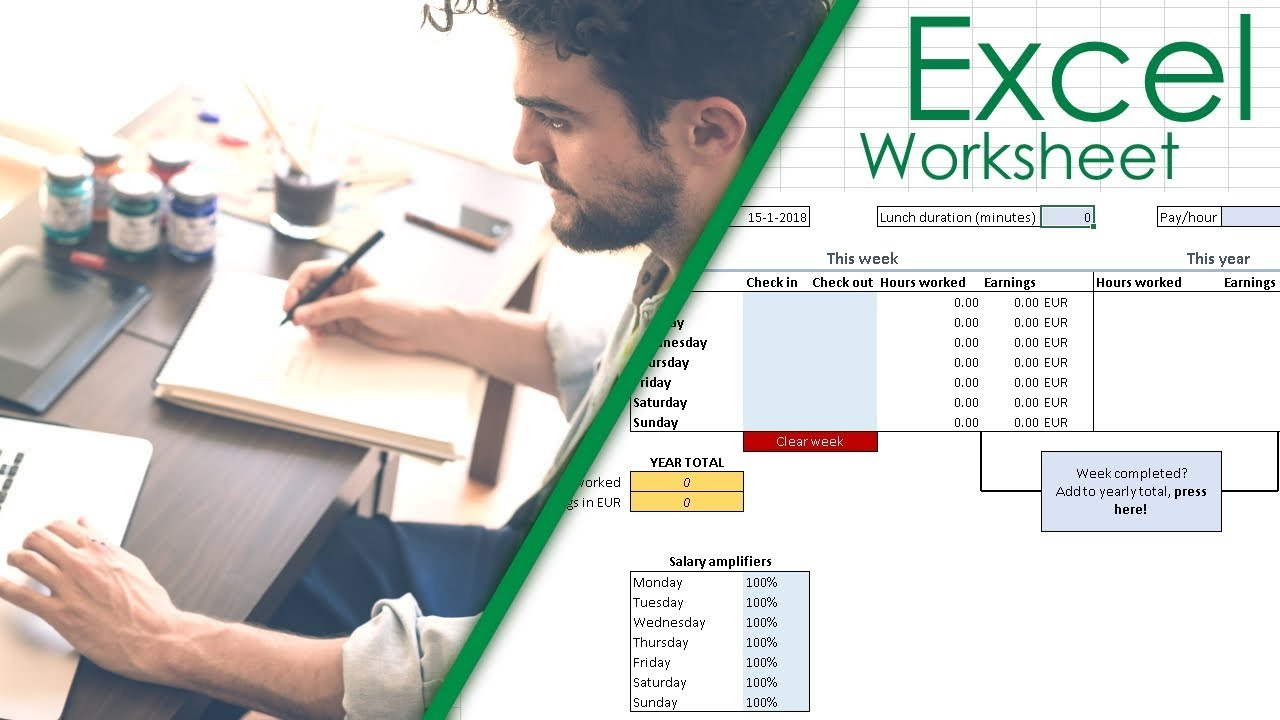 Weekly Working Hours Timesheet Calculator Excel Sheet | Spreadsheet Download