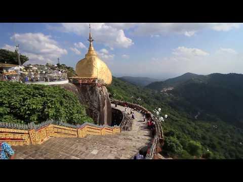 Kyaiktiyo pagoda or Golden rock pagoda ,Myanmar พระธาตุอินท์แขวน พม่า