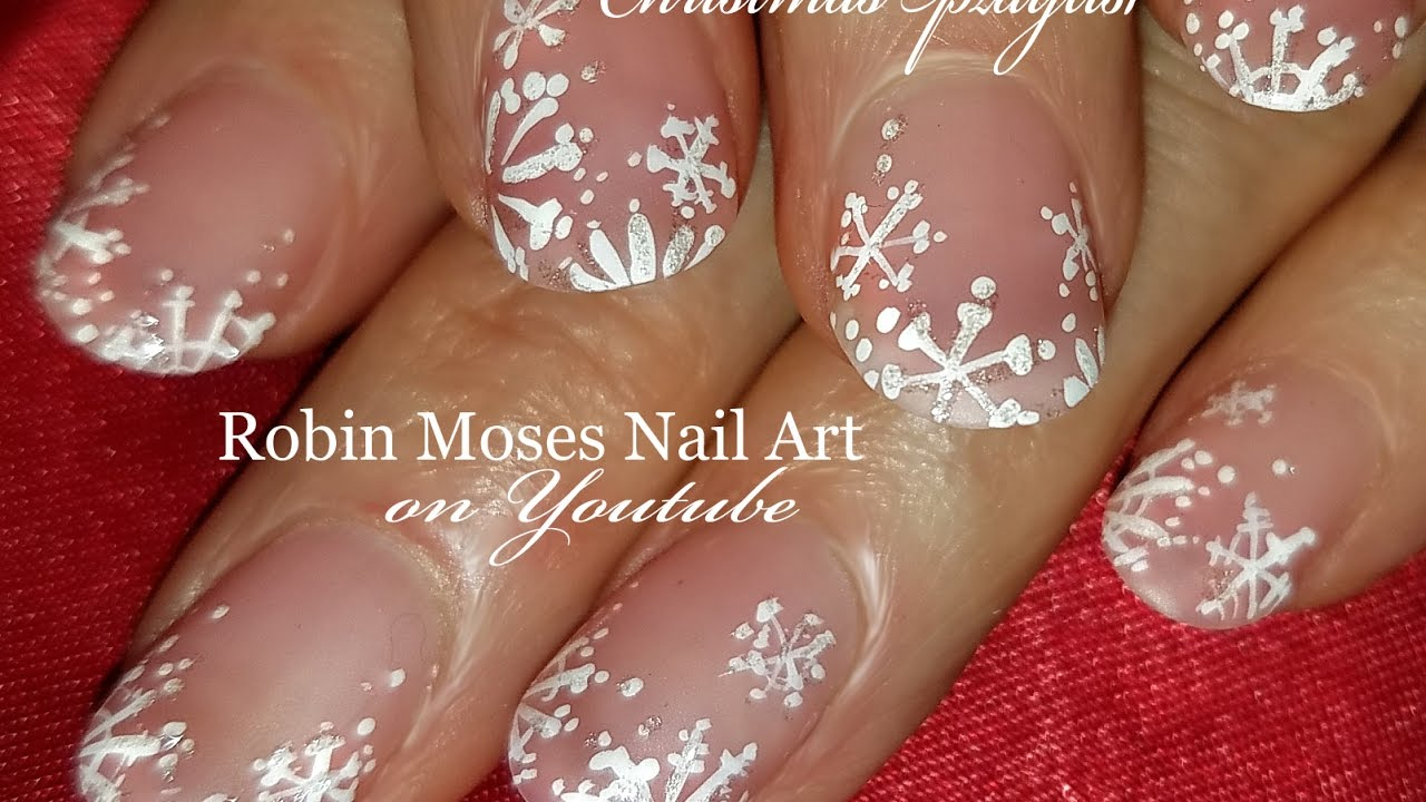 Easy White Snowflake Nails Design Elegant Matte Diy Xmas Nail Art