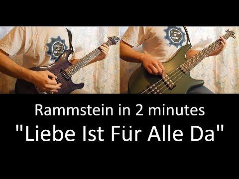 37) Rammstein - Liebe Ist Fur Alle Da (guitar & bass lesson + TAB cover HD)