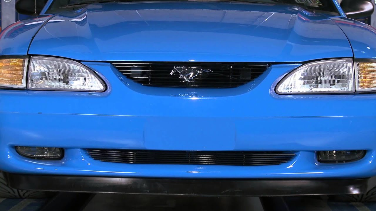 Mustang Black And Polished Billet Grille W Pony Cutout 94